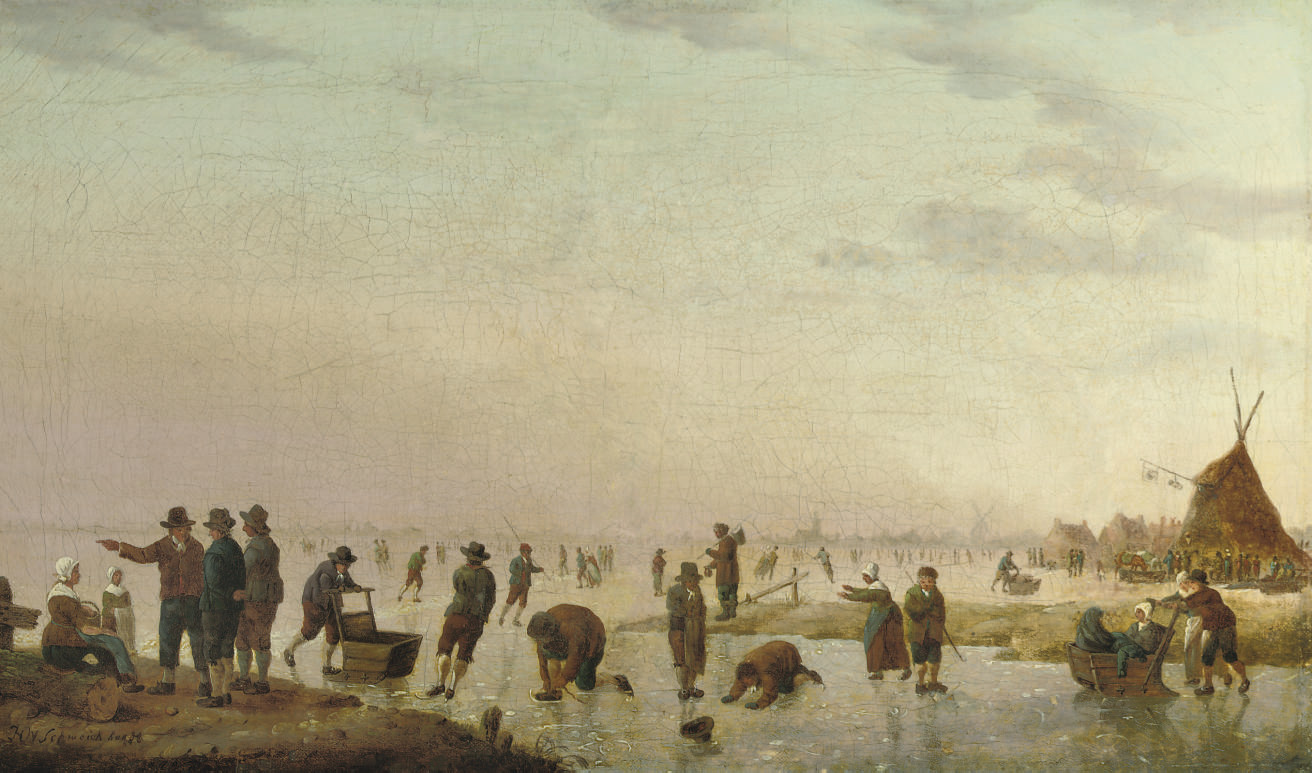 A winter landscape with figures skating and sleighing