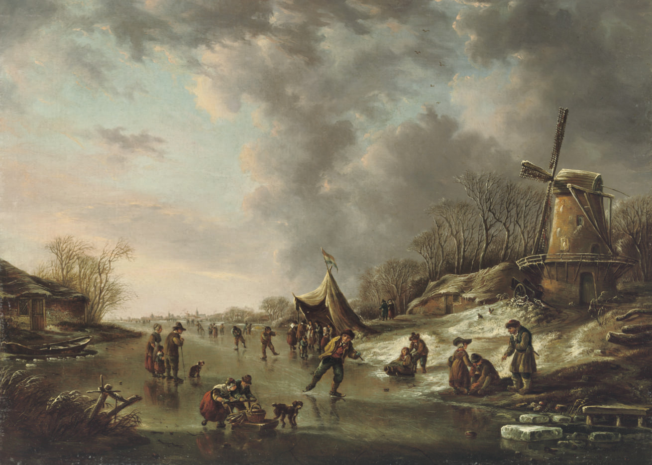 A winter landscape with figures skating on a frozen river