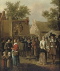 A street theatre in a village with figures conversing