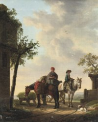 Travellers and their horses halting near a well