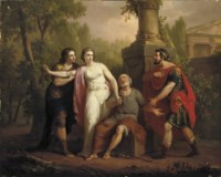 Briseis taken from Achilles by the heralds Talthybios and Eurybates