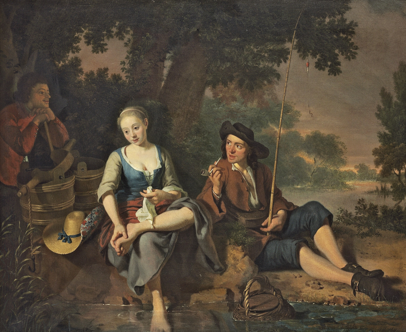 A fisherman and a milkmaid resting on a river bank