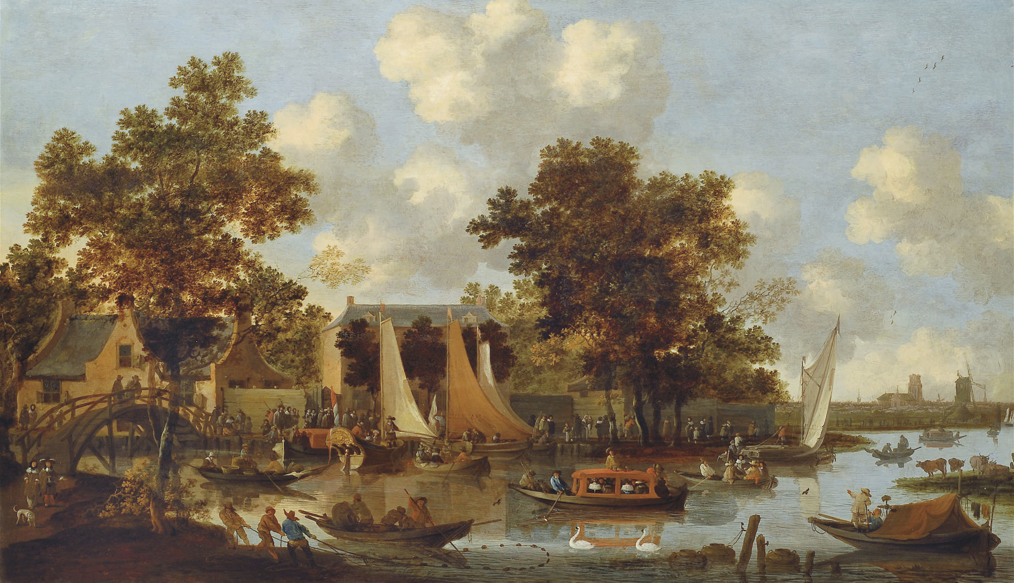 A view of the 'Zwaenhals' near Rotterdam with numerous figures in boats and on foot