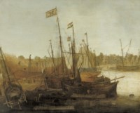 A shipyard with figures building and restoring sailing vessels