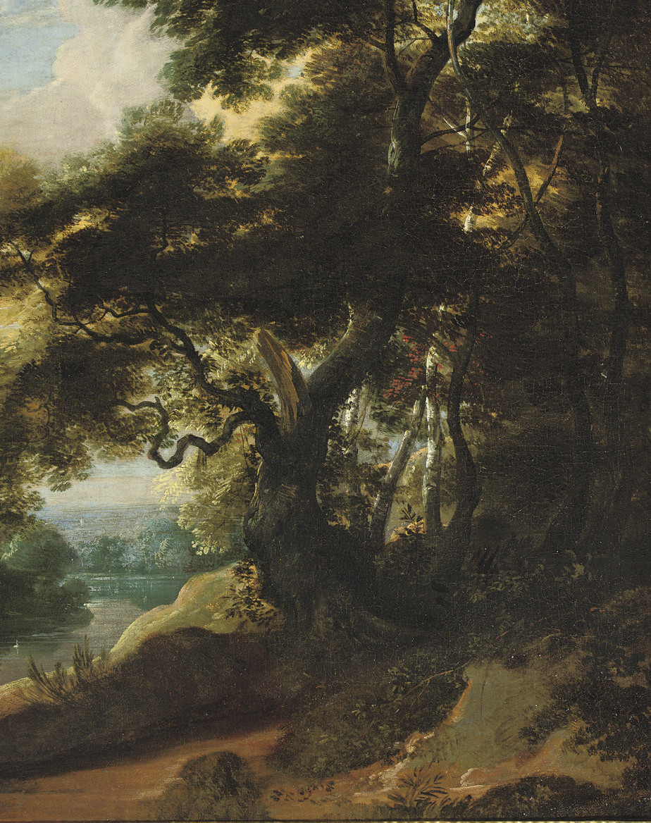 A river landscape with an entrance to a wood