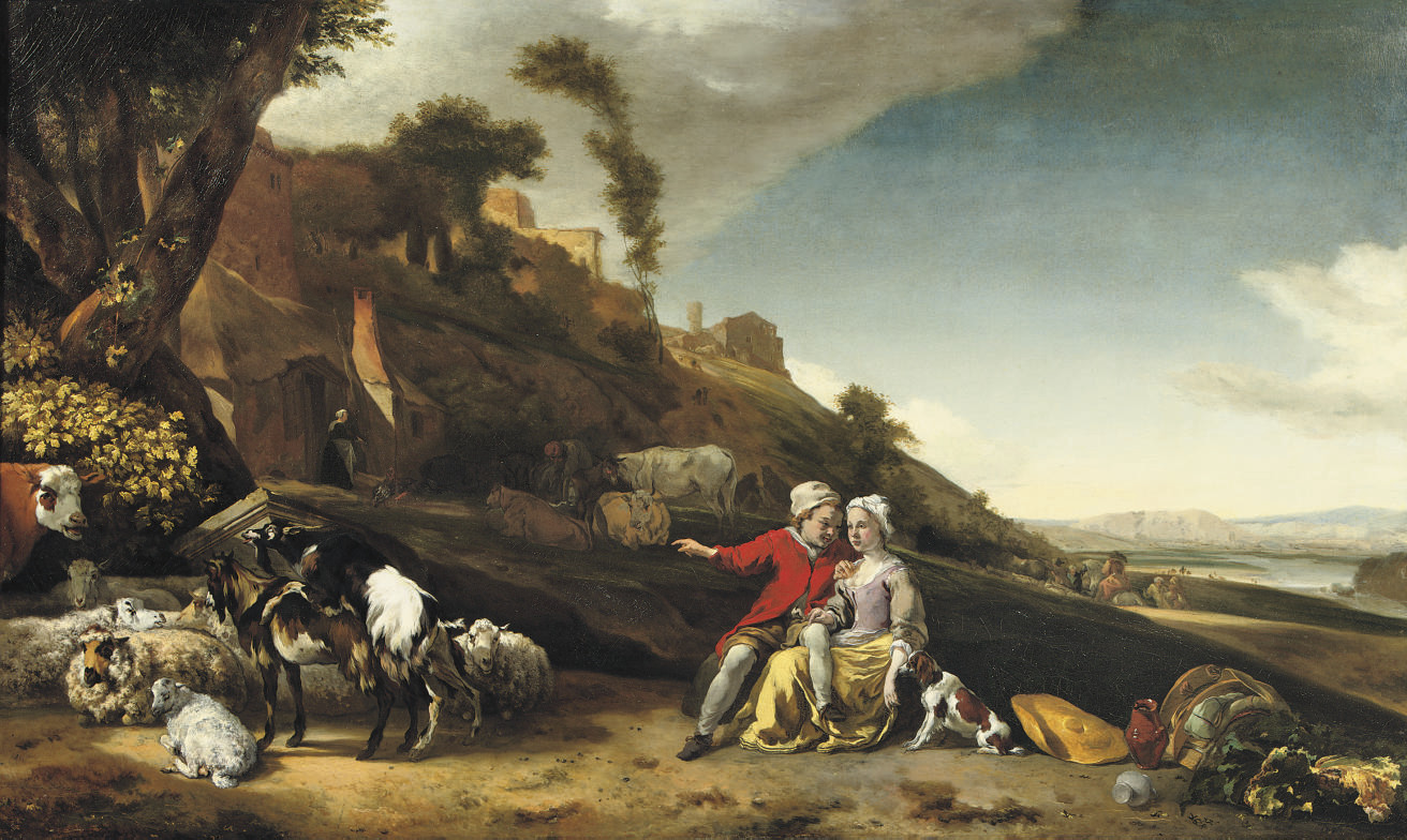 A young couple in an Italianate landscape