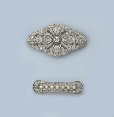TWO BELLE EPOQUE DIAMOND BROOC