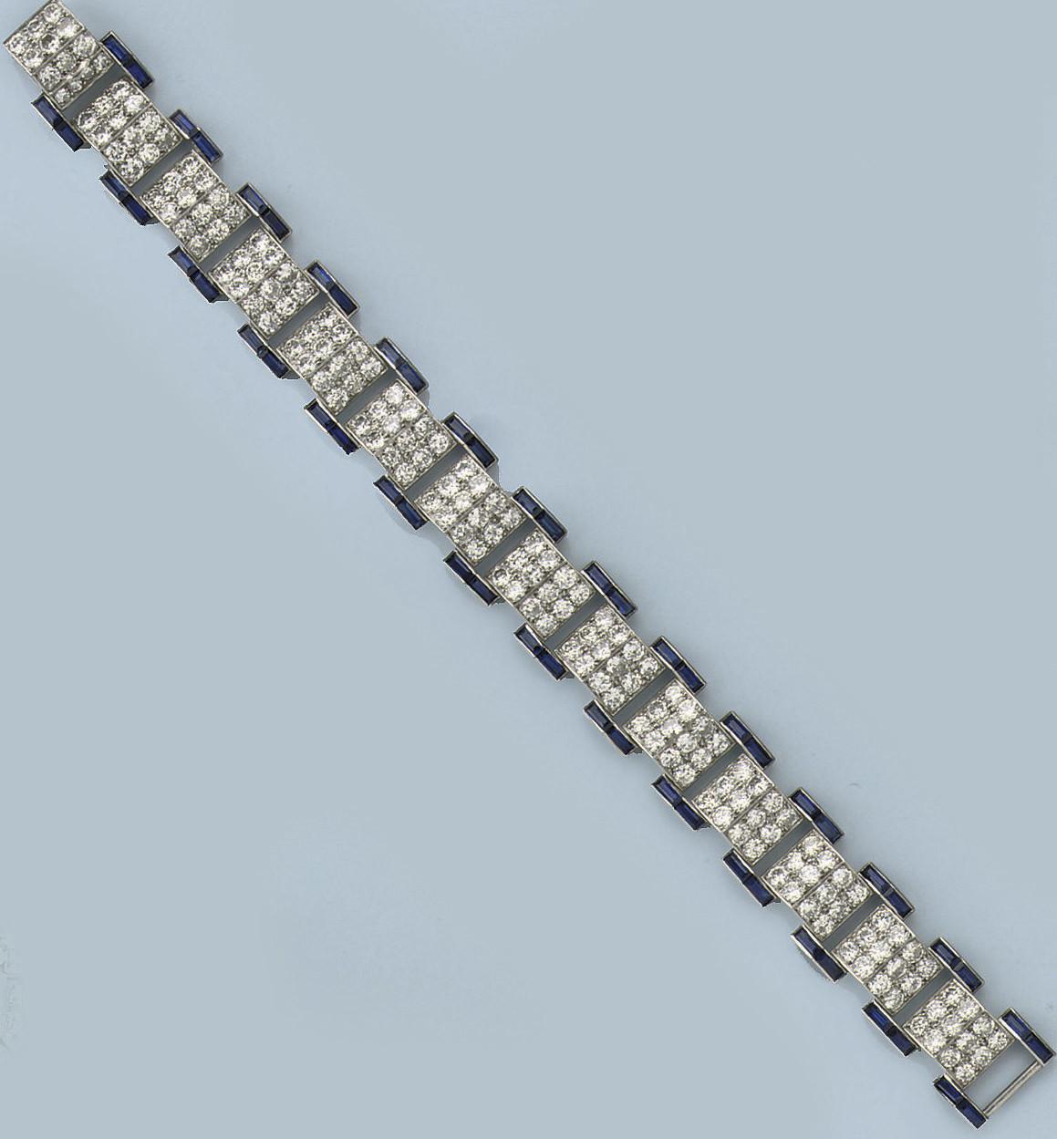 AN ART DECO SAPPHIRE AND DIAMOND BRACELET, BY CARTIER