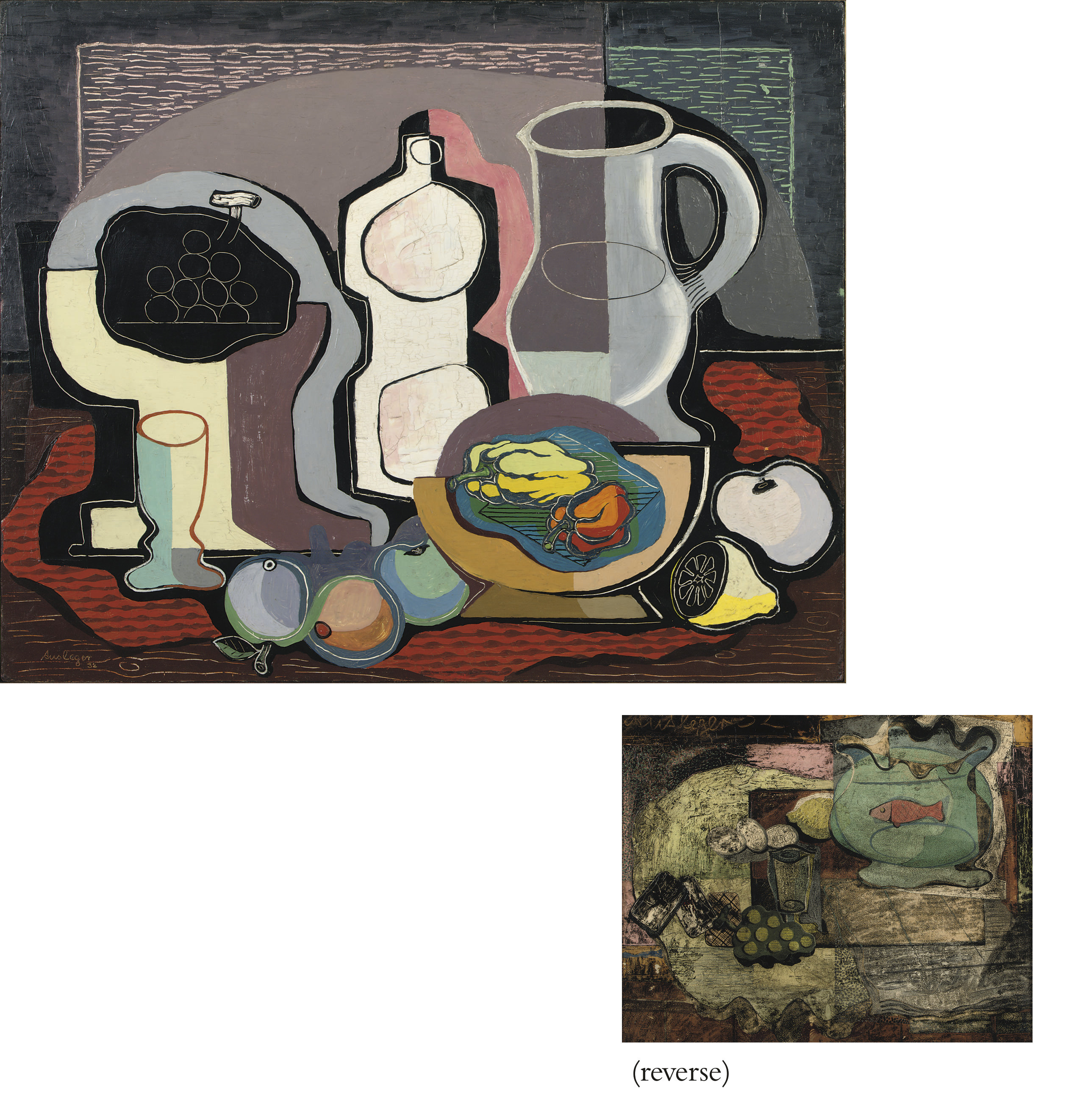 A still life with fruits and a jug (recto); A still life with a fish in a bowl (verso)