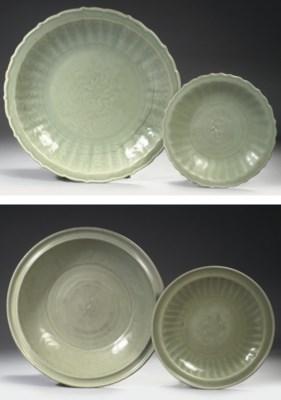 Four Chinese Longquan celadon