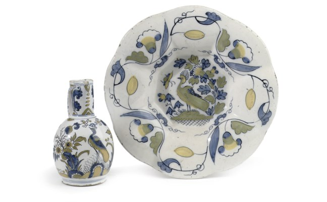 A Dutch Delft polychrome dish