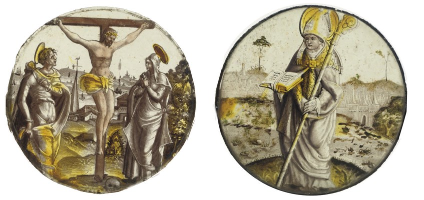 TWO FLEMISH STAINED GLASS ROUN