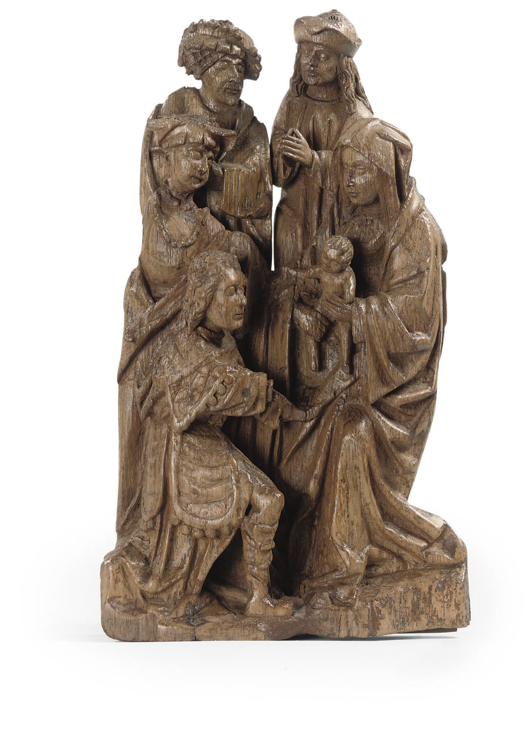 A CARVED OAK GROUP OF THE ADOR