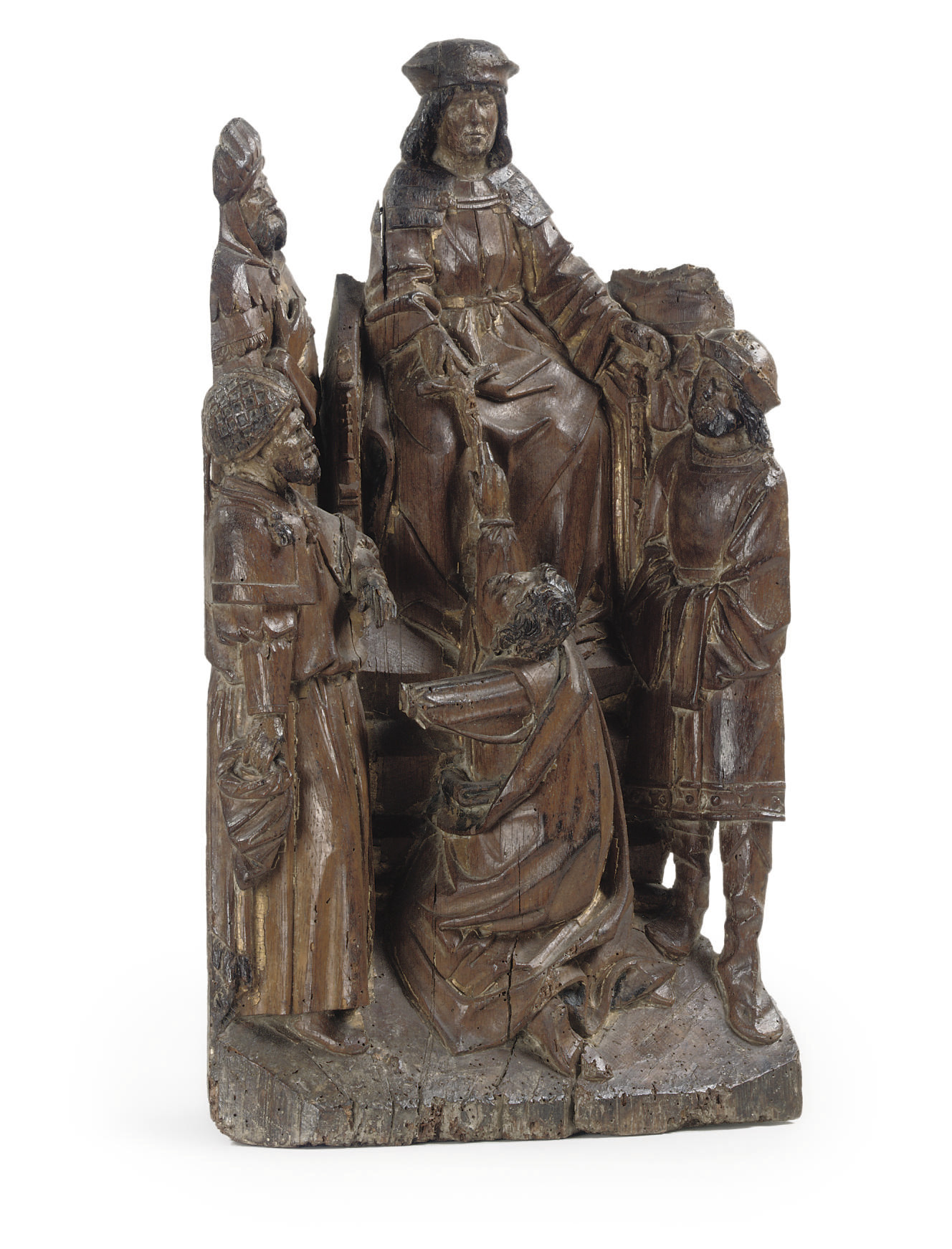 A CARVED OAK GROUP OF AN ENTHR