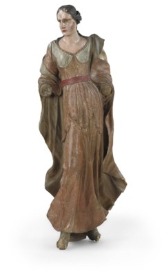 A CARVED POLYCHROME FEMALE FIG