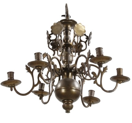 A BRASS SIX-LIGHT CHANDELIER