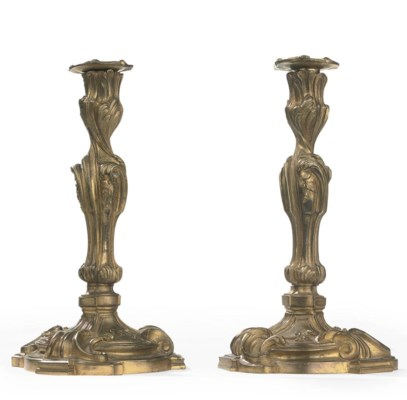 A PAIR OF FRENCH ORMOLU CANDLE