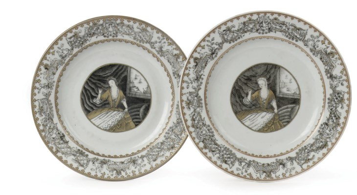 A pair of grisaille and gilt C
