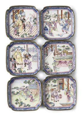 A set of six Chinese famille r