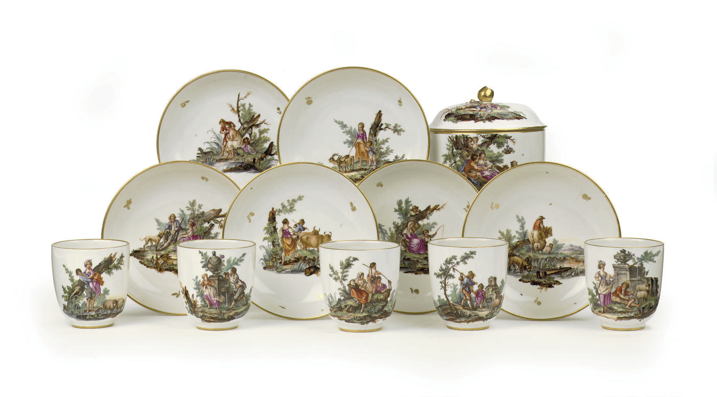 A set of five Höchst cups and