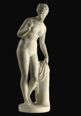 A WHITE MARBLE FIGURE OF VENUS
