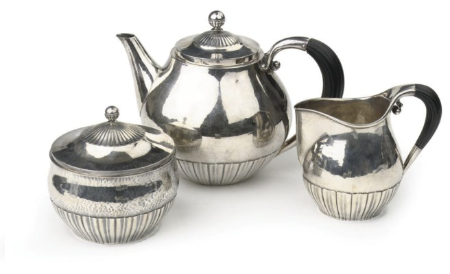 A Danish hammered silver three