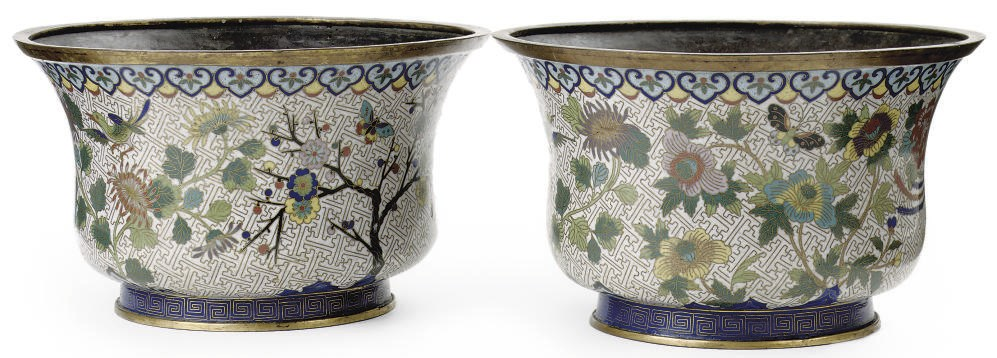A pair of Chinese cloisonné ja