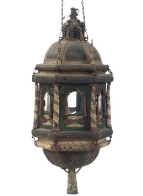 A POLYCHROME DECORATED METAL L