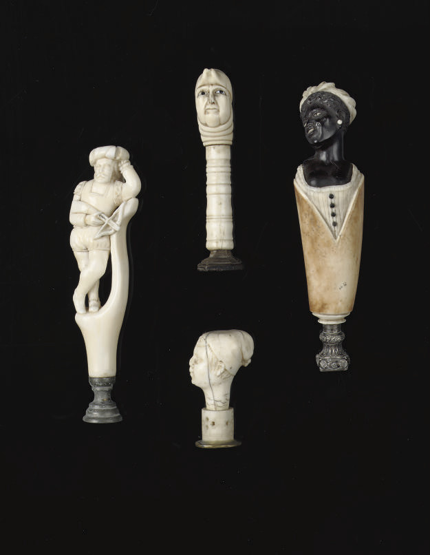 THREE CARVED IVORY SEALS AND O