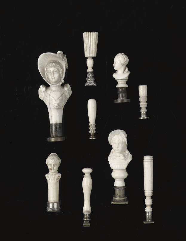 NINE VARIOUS CARVED IVORY AND