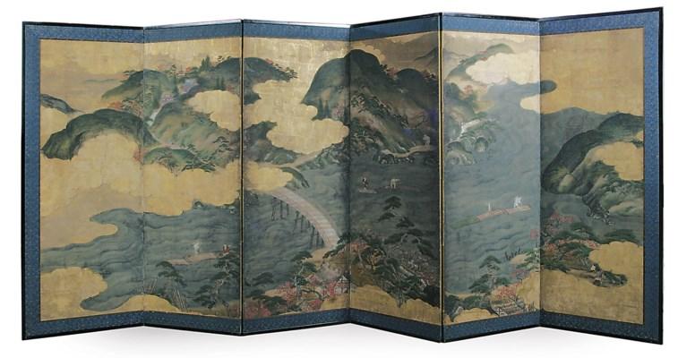 A Japanese six-panel folding s