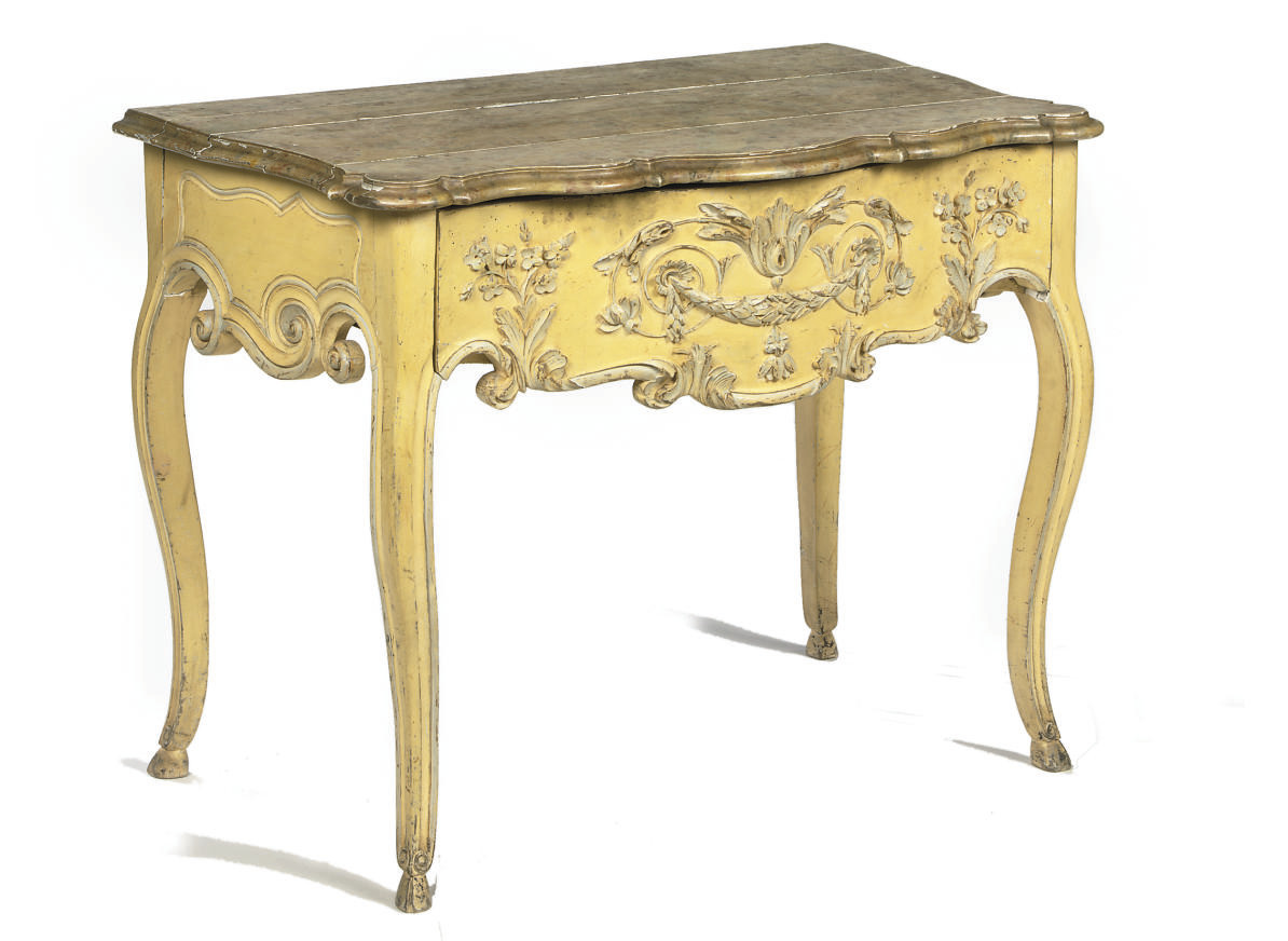 A FRENCH PROVINCIAL YELLOW PAINTED AND MARBLEIZED CONSOLE TABLE