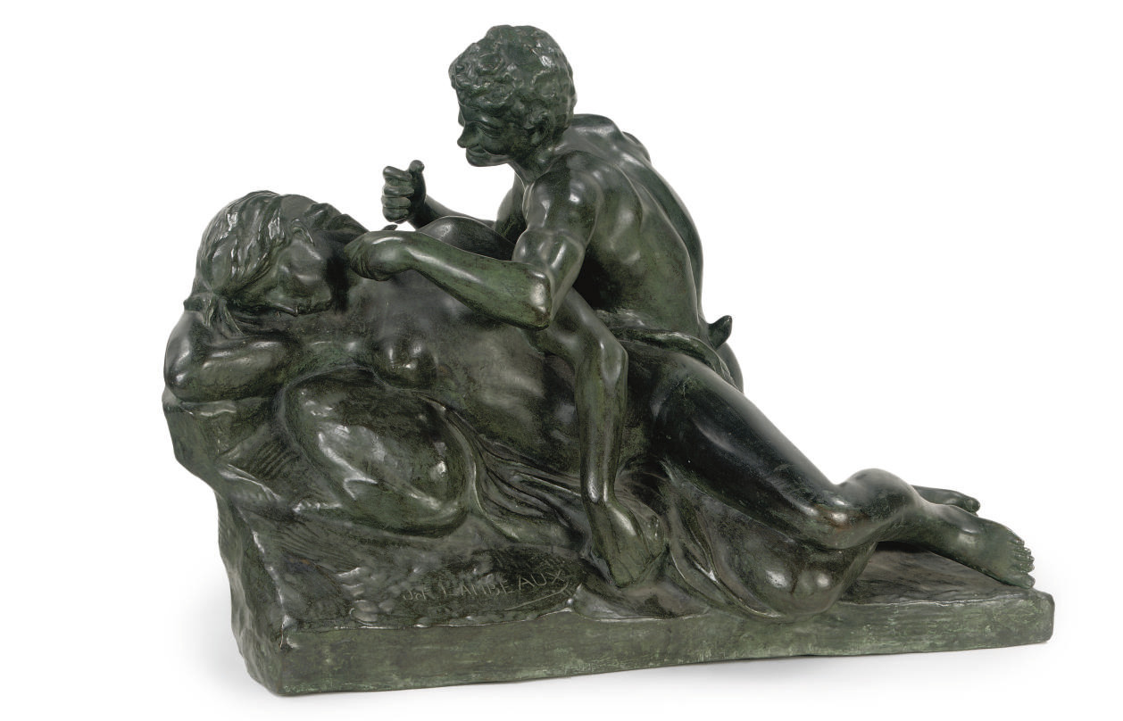 A BRONZE GROUP OF A SATYR TEASING A NYMPH 'TENDRESSE'