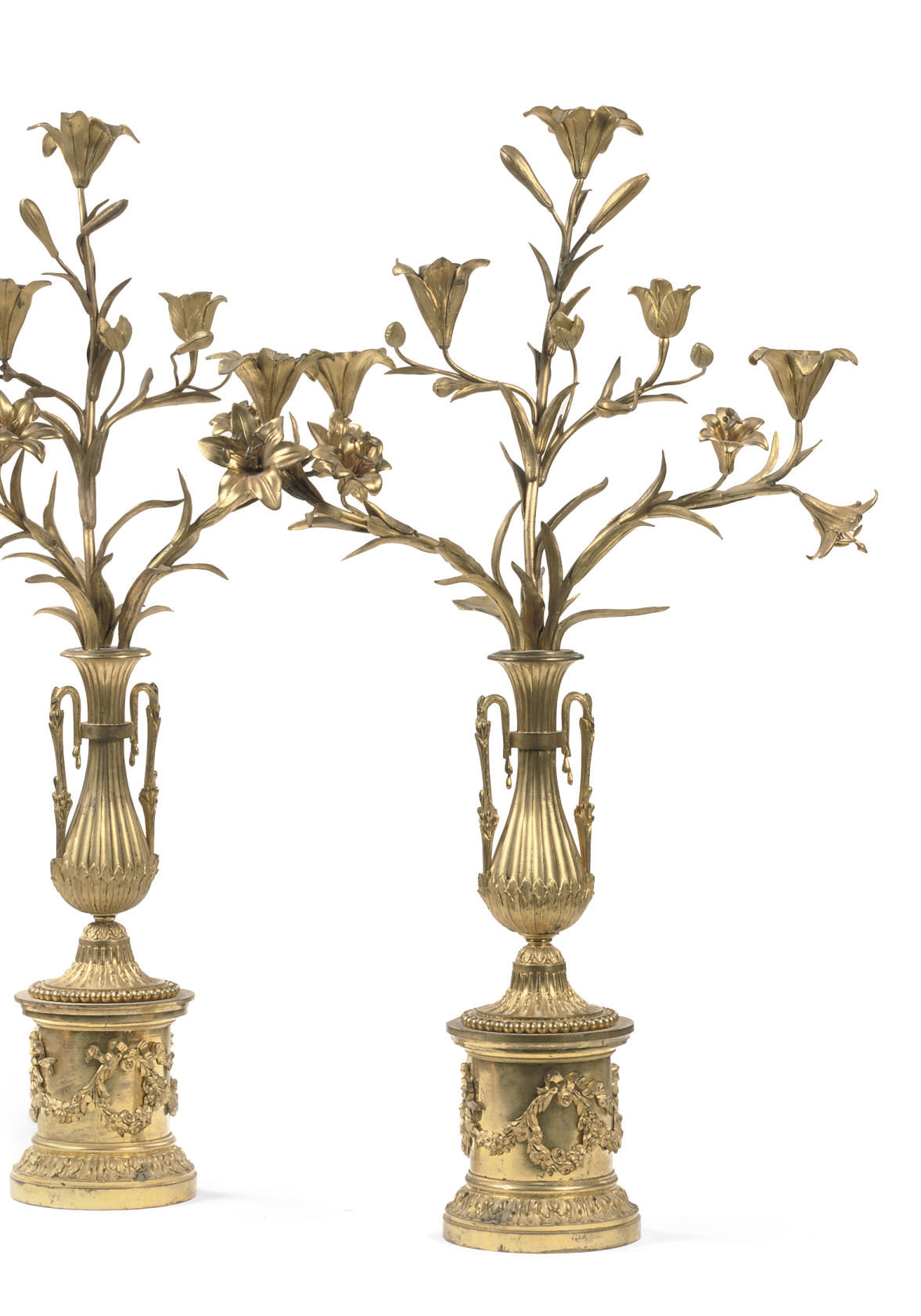 A PAIR OF FIVE-LIGHT ORMOLU CA