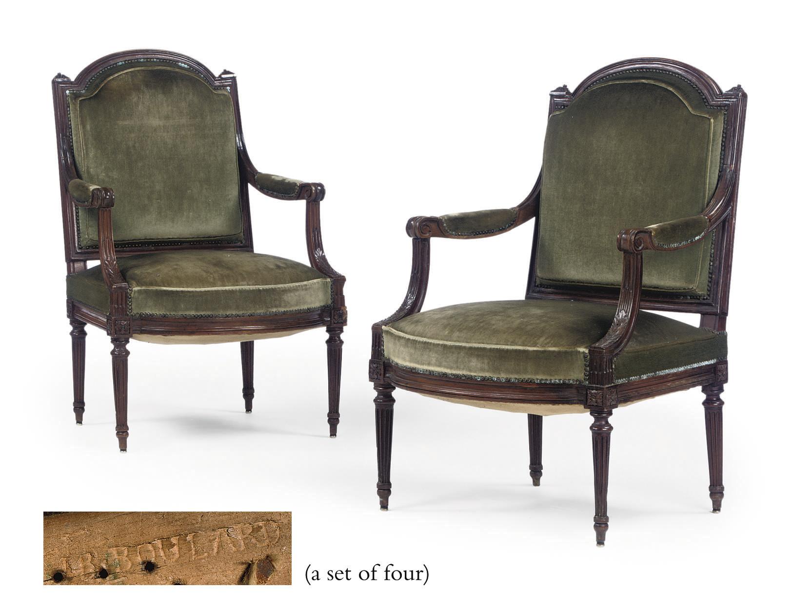 A SET OF FOUR LOUIS XVI WALNUT
