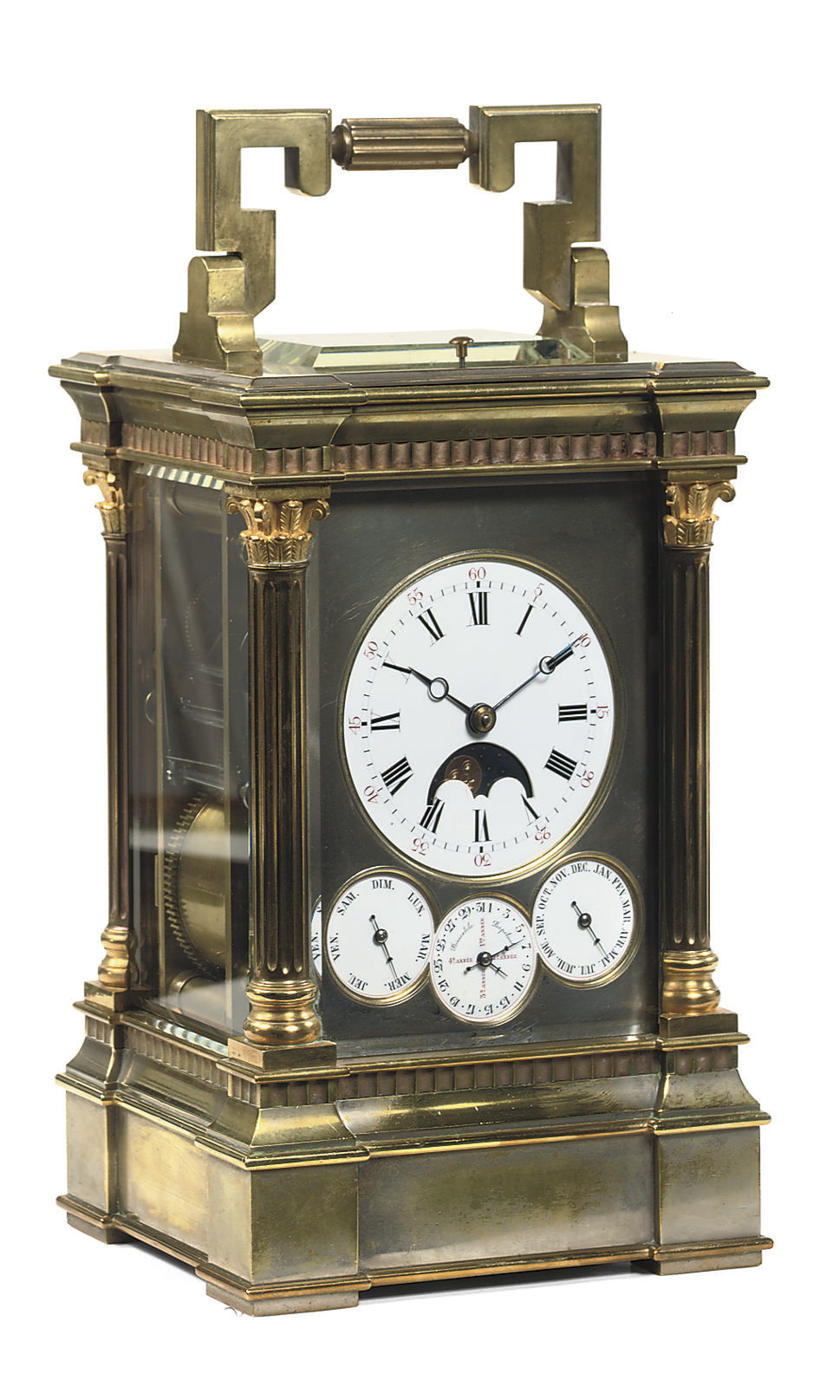 A LARGE FRENCH BRASS AND SILVE