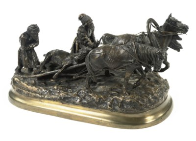 A RUSSIAN BRONZE GROUP OF A ST