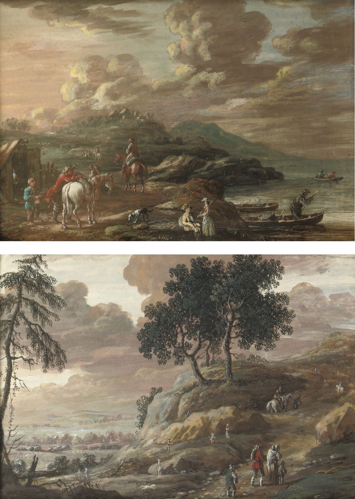 A coastal landscape with horsemen and other figures outside a stable, figures in boats nearby; and A hilly river landscape with travellers on a track, a village beyond