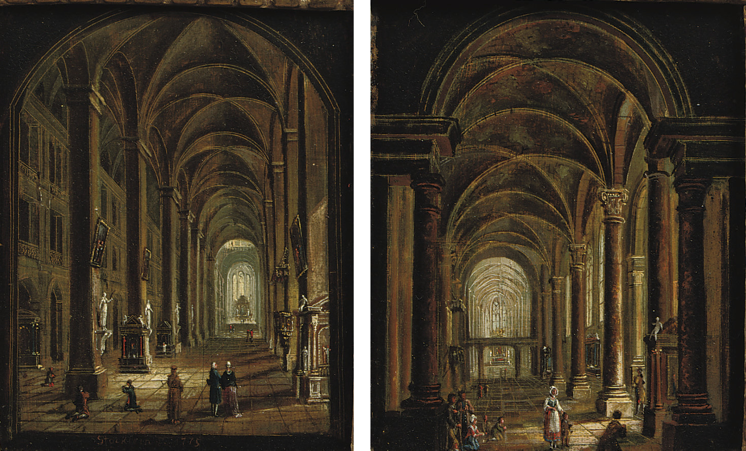 A church interior with figures praying and conversing and; A church interior with figures praying and a passing mother with child