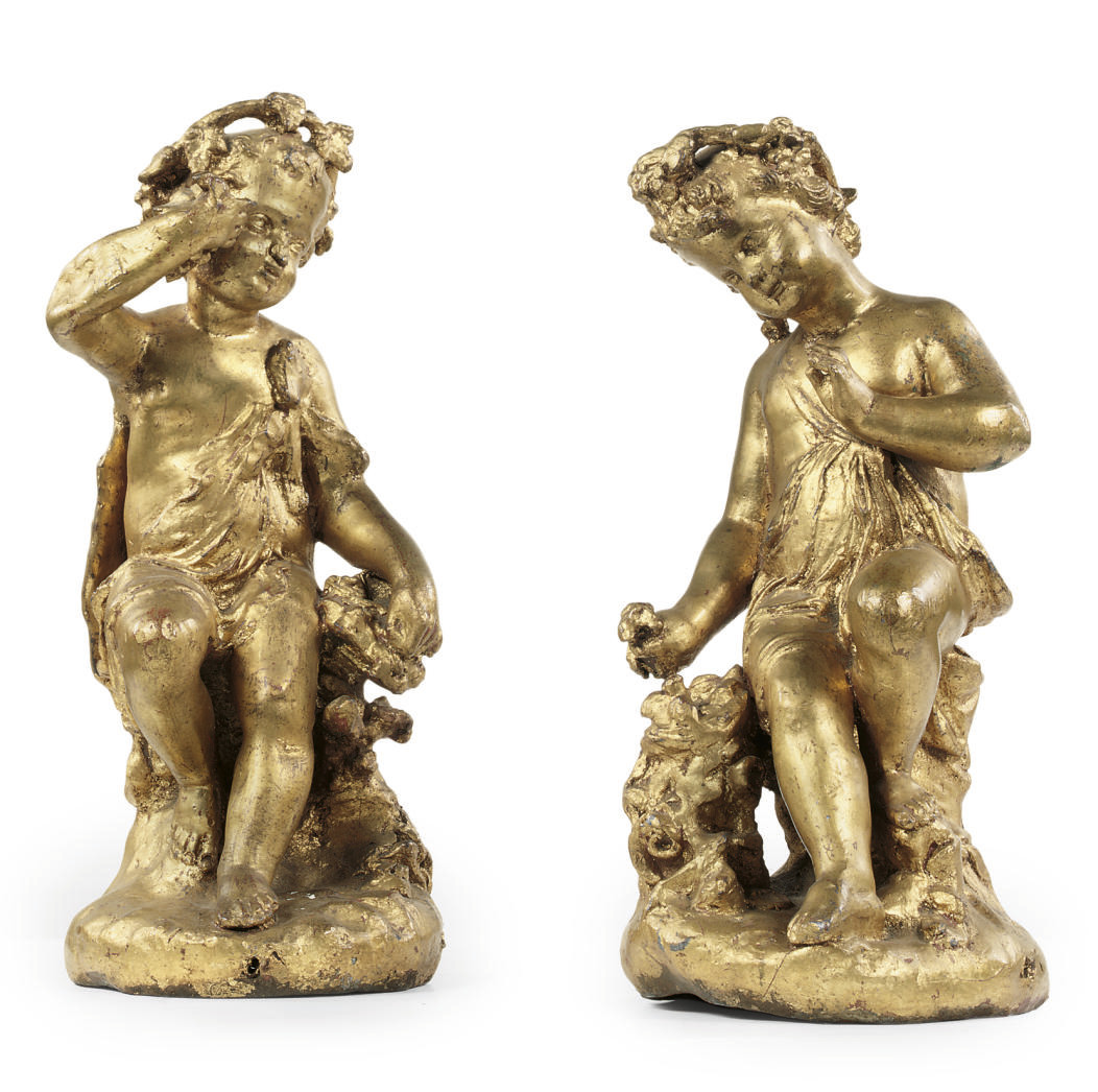 A PAIR OF DUTCH GILT-LEAD FIGU