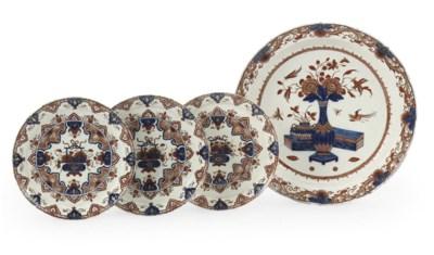 Four Delft doré Imari-style pl
