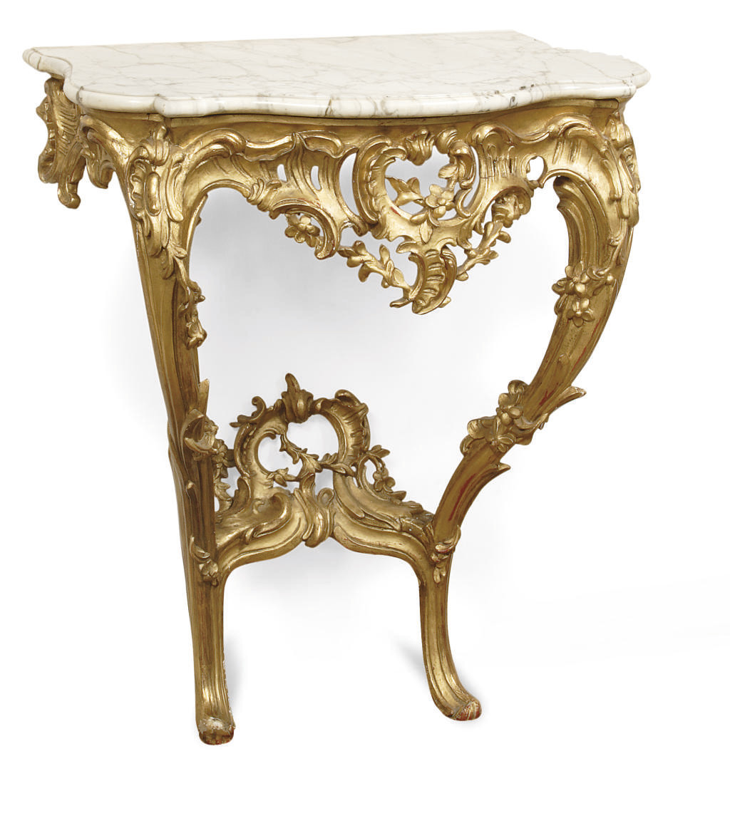 A DUTCH GILTWOOD CONSOLE TABLE