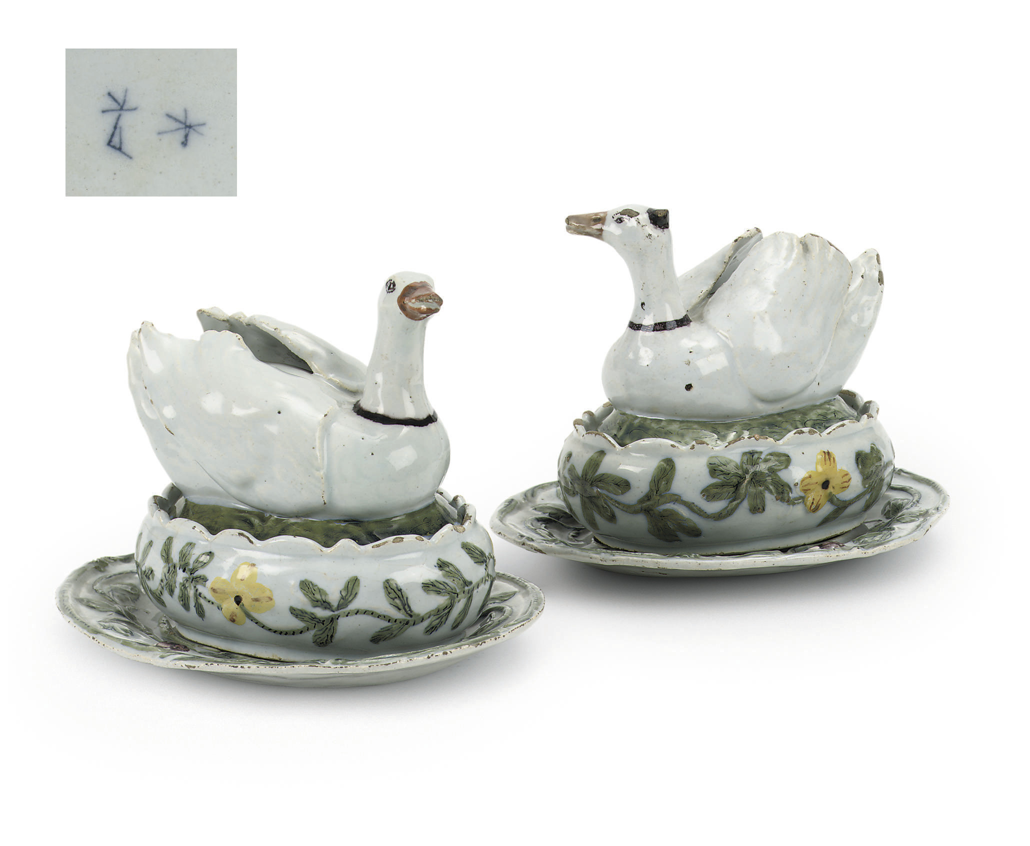 A PAIR OF DUTCH DELFT BUTTER B