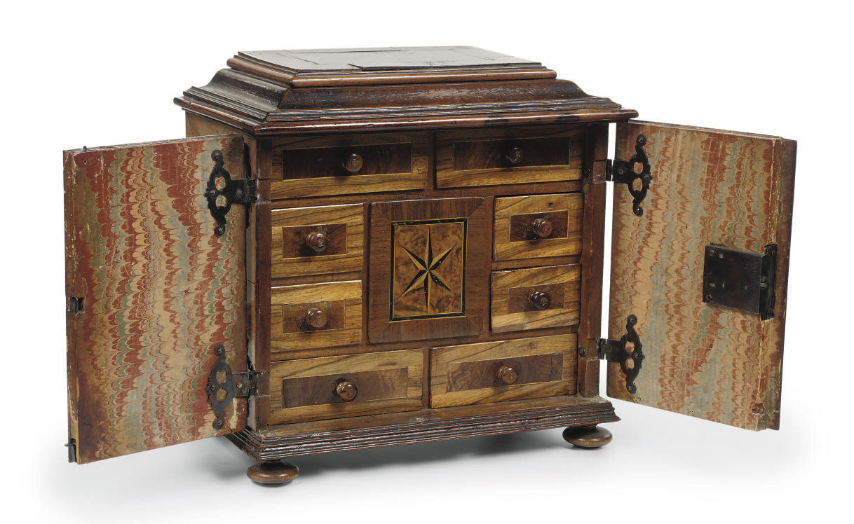 A GERMAN WALNUT, FRUITWOOD AND