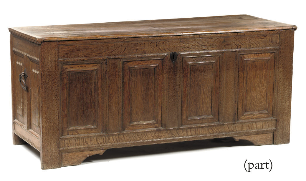 A DUTCH IRON MOUNTED OAK CHEST