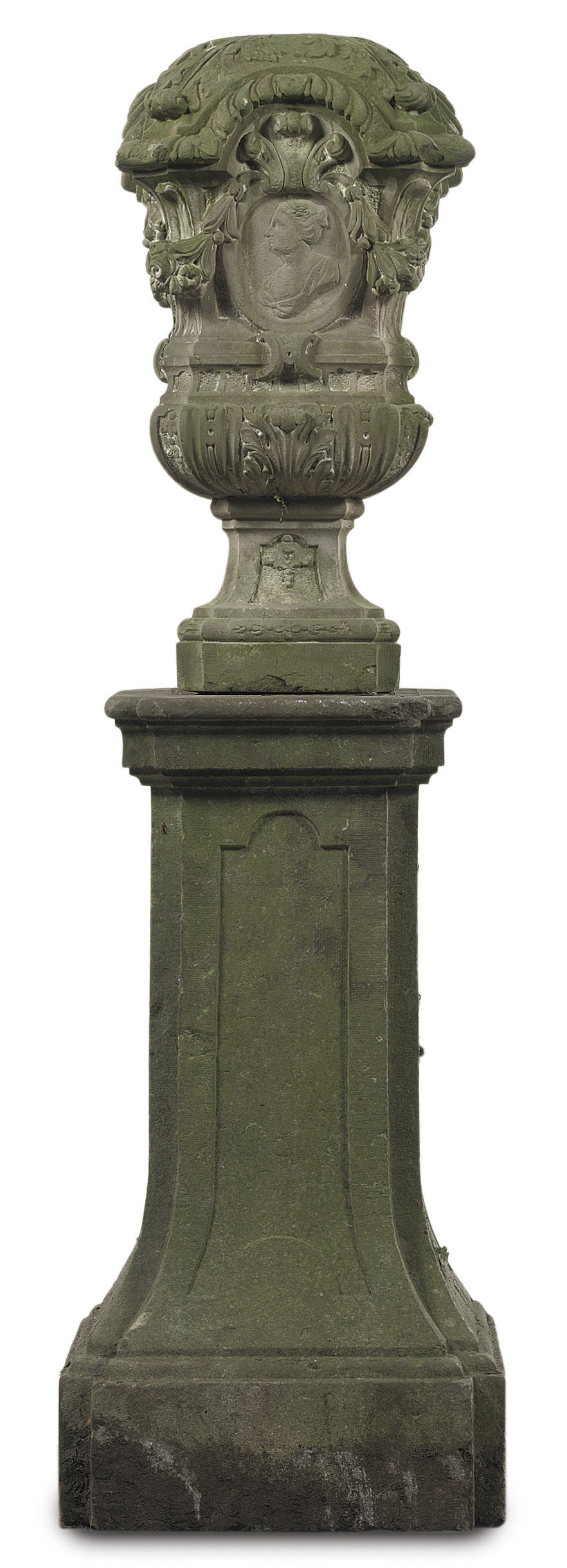 A DUTCH CARVED SANDSTONE VASE