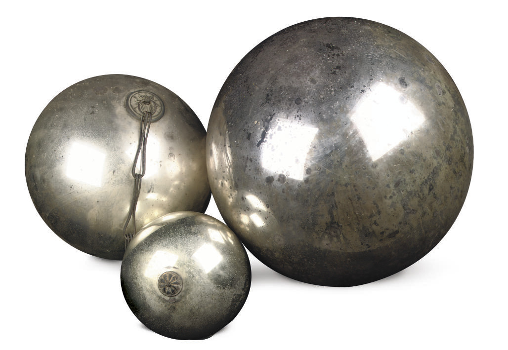 THREE SILVERED GLASS SPHERES