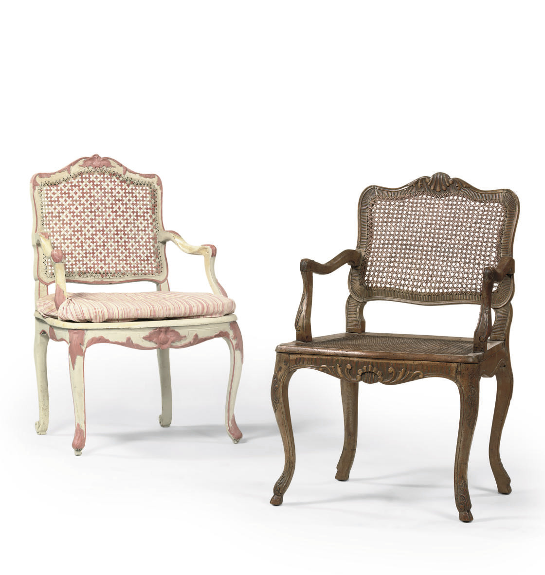 A GREY AND PINK PAINTED FAUTEU