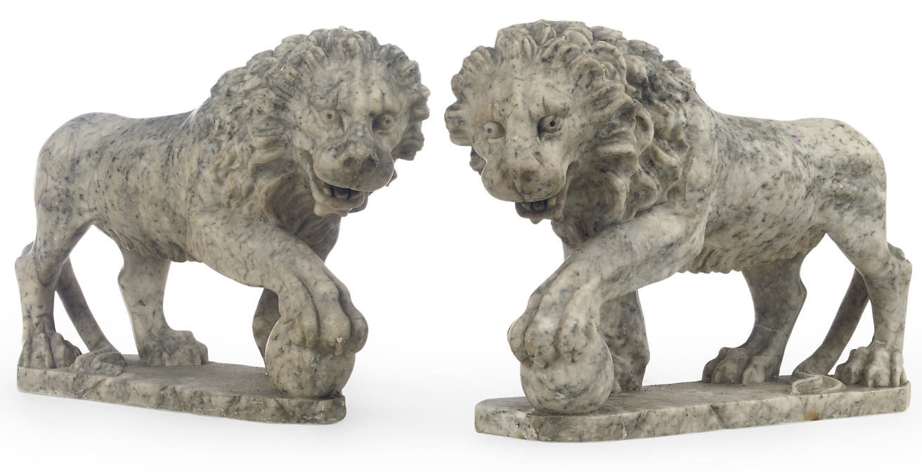 A PAIR OF CARVED ALABASTER MOD