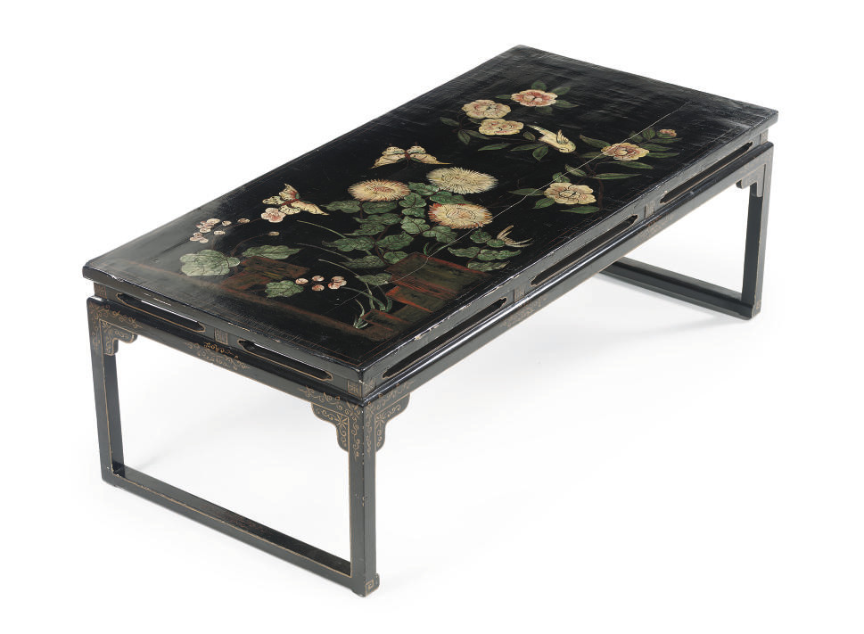 A Chinese black lacquer table